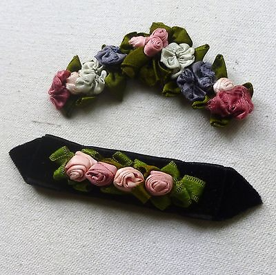 Petite Antique French Ribbon Work Roses