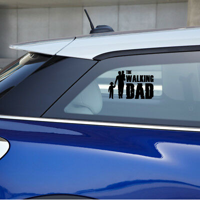 "A father and his kids with the phrase ""The Walking Dad"" vinyl sticker"