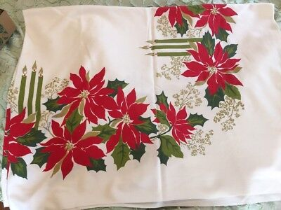 Vintage  Poinsettia Candle Christmas Tablecloth Oblong