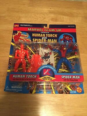 ToyBiz Marvel Team-Up Human Torch And Spider-Man Figures, MOC, 1995!