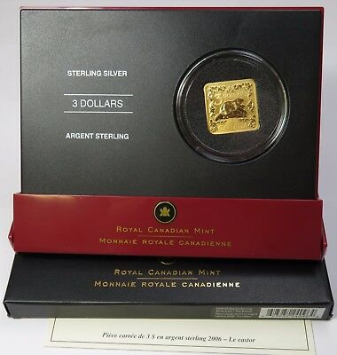 2006 $3 Square Sterling Silver Beaver with BOX & COA Proof Canada Coin #14721C