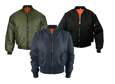 New Mens Ma1 Bomber Flight Vintage Biker Army Military Security Jacket