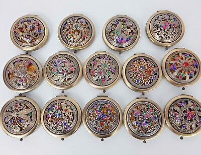 Madame Posh Vintage Brass Gold Compact/Purse/Double Sided Make-up Pocket Mirror