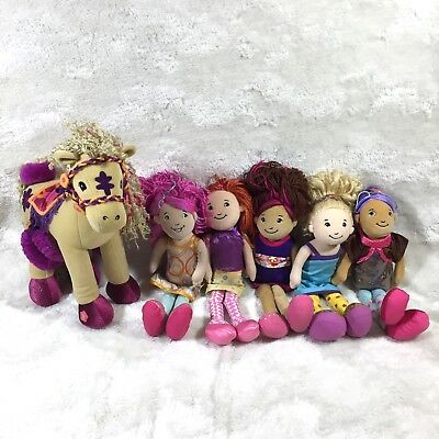 Groovy Girl Lot 5 Dolls + Articulated Horse Bianca Lizzie Becca + Others Plush