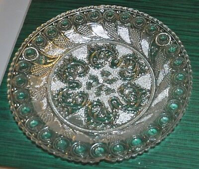 Thistle Lacy Period Flint Glass Plate Peacock