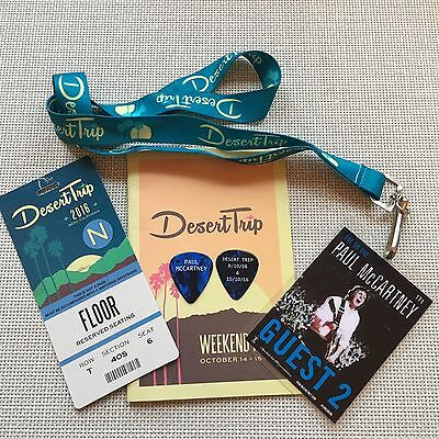 PAUL McCARTNEY-2016 DESERT TRIP BACKSTAGE PASS,TICKET,GUIDE & PAUL's STAGE PICK!