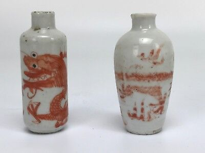 Two Chinese Antique Porcelain Snuff bottle with Hand Painted Dragons Foo Dog