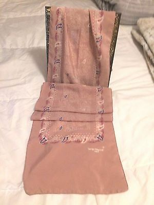 "Serge Nancel Paris France, Vintage, 54""X10"" Baby Pink Rose, Tapestry Silk Scarf"