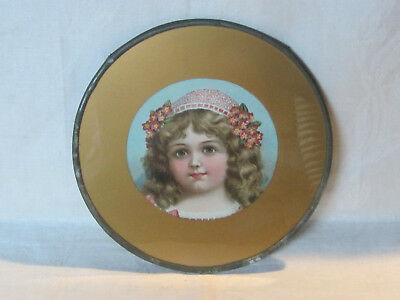 Antique Victorian flue cover w/ portrait of a lovely young girl