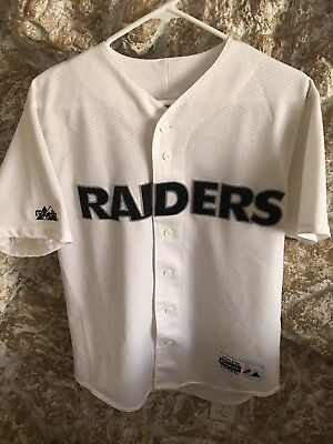 official photos e0460 2dcc8 RARE VINTAGE OAKLAND Raiders Majestic Baseball Button Up Jersey Sz Medium