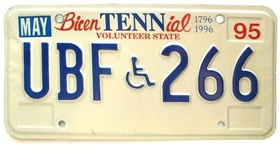 Tennessee 1995 State Bicentennial Handicapped License Plate, UBF-266