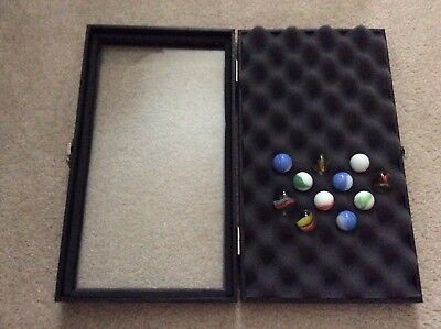 "1- SPECIAL Top Hinged 8-1/4"" x 14-3/4"" x 2-1/4"" Display Case for MARBLES"