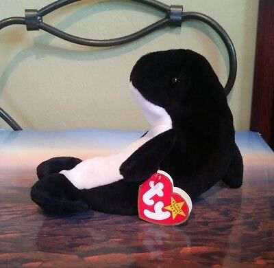 Ty Beanie Baby Waves Killer Whale 5th Generation Retired 1996