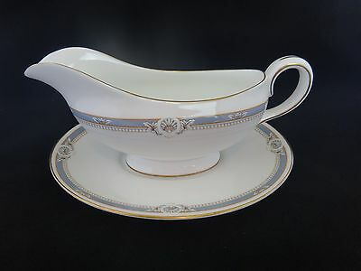 Aynsley SOUTH PACIFIC BLUE Gravy Boat with Underplate ~MINT~ Original label