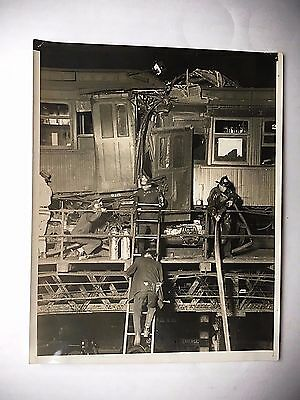 Original 1920's Wire Press Photo Of Wreckage Of Elevated Trains In New York City