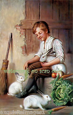 Antique Art~Sweet Boy Feeds Rabbits~ NEW Lge Note Cards