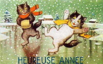 Vintge French New Year~Happy Kitty Cats Celebrate~Ice Skating~NEW Lge Note Cards