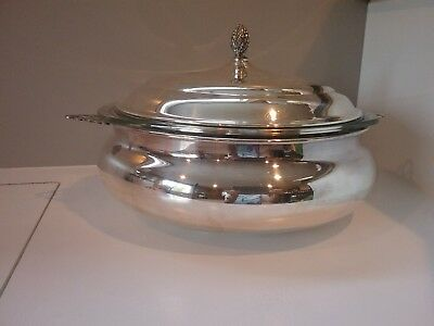 Sheffield Silver Co. USA Serving Bowl Lid & Glass Pyrex Insert Silverplated