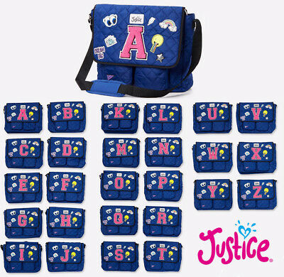 New Justice Quilted Patch Initial Messenger Shoulder Bag Blue NWT All Letters