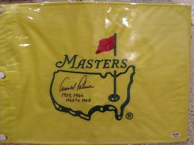 Arnold Palmer Augusta National Masters Golf Flag Auto Signed w/ Dates PSA/DNA