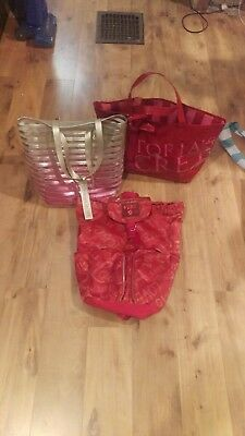 lot of 3 used victoria secret or love pink bags.  Backpack and 2 beach bag Totes
