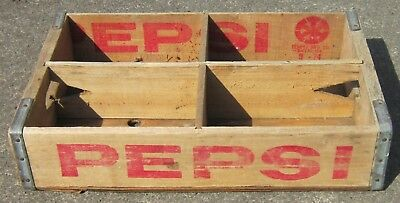Vintage 1974 PEPSI-COLA Wood/Wooden CRATE Bottle Carrier Dallas TX Ventura CA