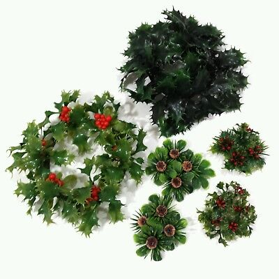 Vtg Plastic Candle Ring Wreath Lot Kitschy Christmas Holly Pinecone 2 Lg, 4 Sm