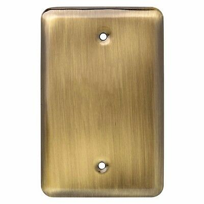 Liberty Stamped Round Single Blank Antique Brass Finished Rectangle Wall Plate