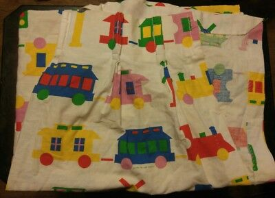 """1984 Bibb Co PRIMARY PINK TRAINS 72.5"""" X 21"""" Pinch Pleat PANEL WINDOW Curtains"""