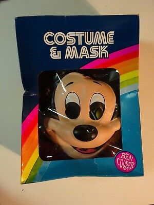 "Mickey Mouse Halloween Mask & Costume in Box Size 3-5 35""-40"" 1982 Ben Cooper"