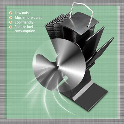 Durable 2 Blades Aluminum Black Heat Powered Stove Fan Fuel Saving Stove Fan EC