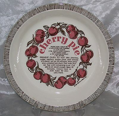 "Vintage Royal China -CHERRY PIE PLATE/ Baker w/ Recipe- 10"" Fluted Edge- VGUC"