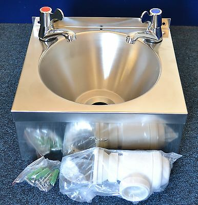 Super Sale Stainless Steel CATERING HAND WASH SINK BASIN free LEVER TAPS & WASTE