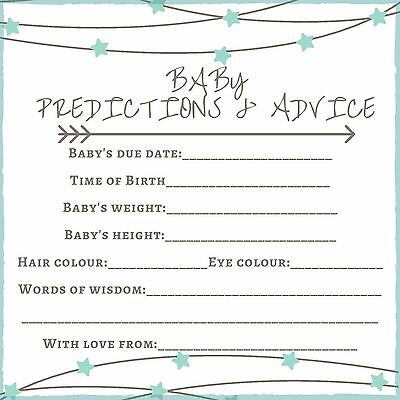 Baby Shower Game x10 - Baby prediction .and advice cards 13cm x 13cm