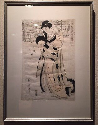 Antique Geisha Robe Painting by Yeizan (Japanese, C. Late 1700's)