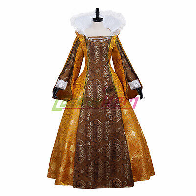 stand collar Queen Elizabeth Cosplay Costume medieval gold ball gown dress