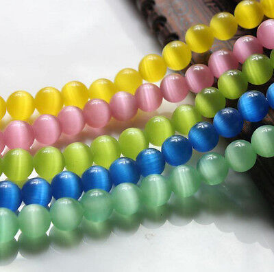 Lots 50Pc Nutural Cats Eye Gemstone Round Spacer Loose Beads Jewelry Making 8MM