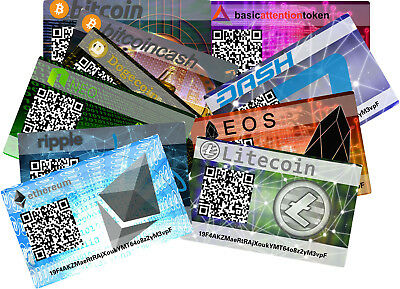 Paper Card Wallet Cryptocurrency 6er Pack - Bitcoin, Dash, Litecoin, Auswahl