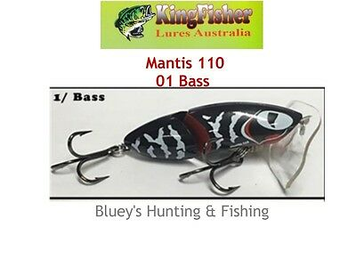Kingfisher Mantis 110 mm articulated surface lure; 01 Bass
