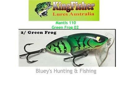 Kingfisher Mantis 110 mm articulated surface lure; 02 Green Frog
