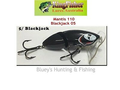 Kingfisher Mantis 110 mm articulated surface lure; 05 Blackjack
