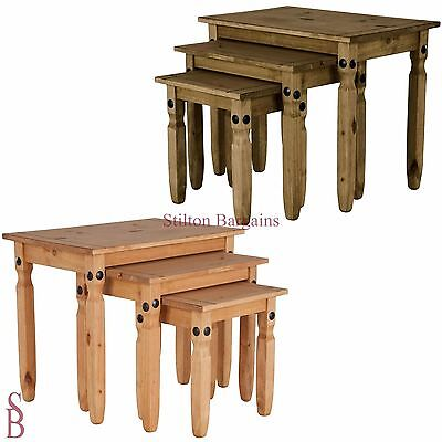 Aruba Solid Pine Nest of Tables - BNIB Nested Side