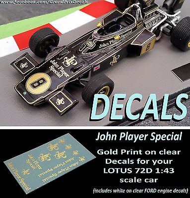 Formula F1 Car Collection water slide DECALS LOTUS John Player Special 1:43 IXO
