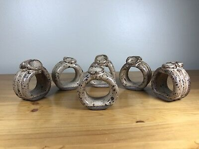 Set Of 6 Pottery Napkin Holder Rings Handmade Handcrafted Dinner Party