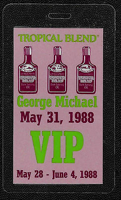 George Michael OTTO Laminated Backstage Pass May 31, 1988 Tropical Blend Tour