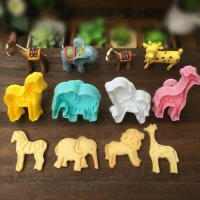 4pcs Animal 3D Silicone Cake Cookie Cutter Fondant Mold