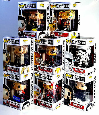 Funko POP STAR WARS The Force Awakens Set of 8 w/ EXCLUSIVES Poe Nien Nunb & Rey