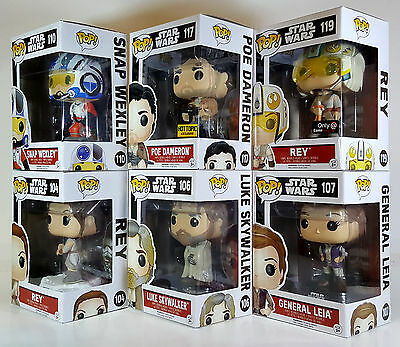 Funko POP STAR WARS The Force Awakens Wave 3 Set of 6 w/ Exclusives Poe & Rey