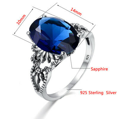 New Real Silver Rings Sapphire Crystal Antique Ring Jewelry Women Men Blue Stone