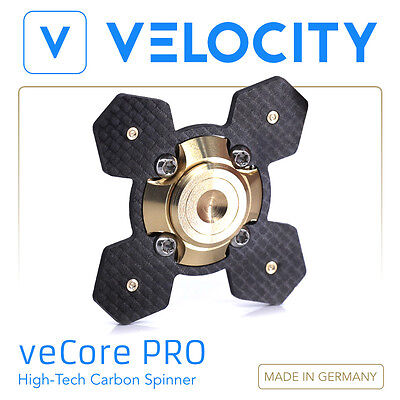 Velocity veCore PRO - Fidget Spinner Kreisel aus Carbon Metall Made in Germany